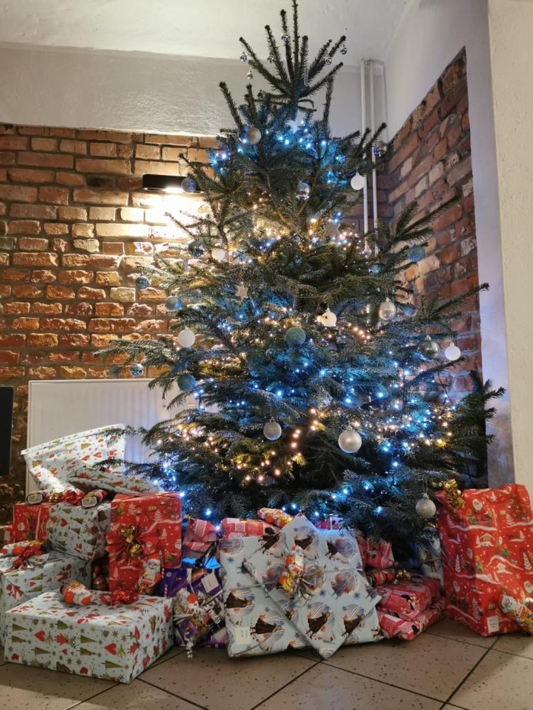 In einer Ecke der FuBs steht ein festliche geschmückter Weihnachtsbaum. Darum herum liegen schön eingepackte Geschenke.