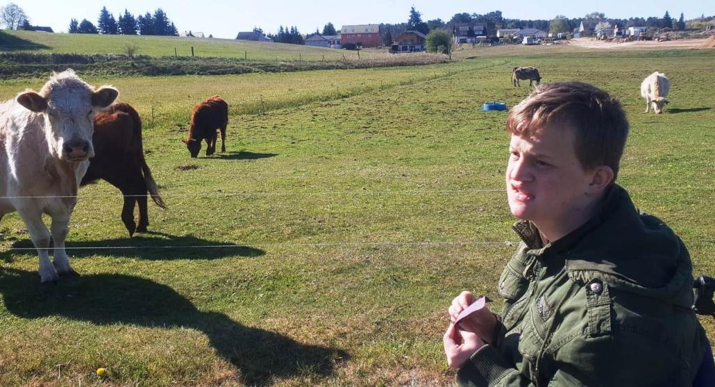 Ein Junger Mann im Rollstuhl steht vor dem Elektrozaun einer Koppel mit mehreren Kühen. Ein weiße Kuh blickt in seine Richtung.
