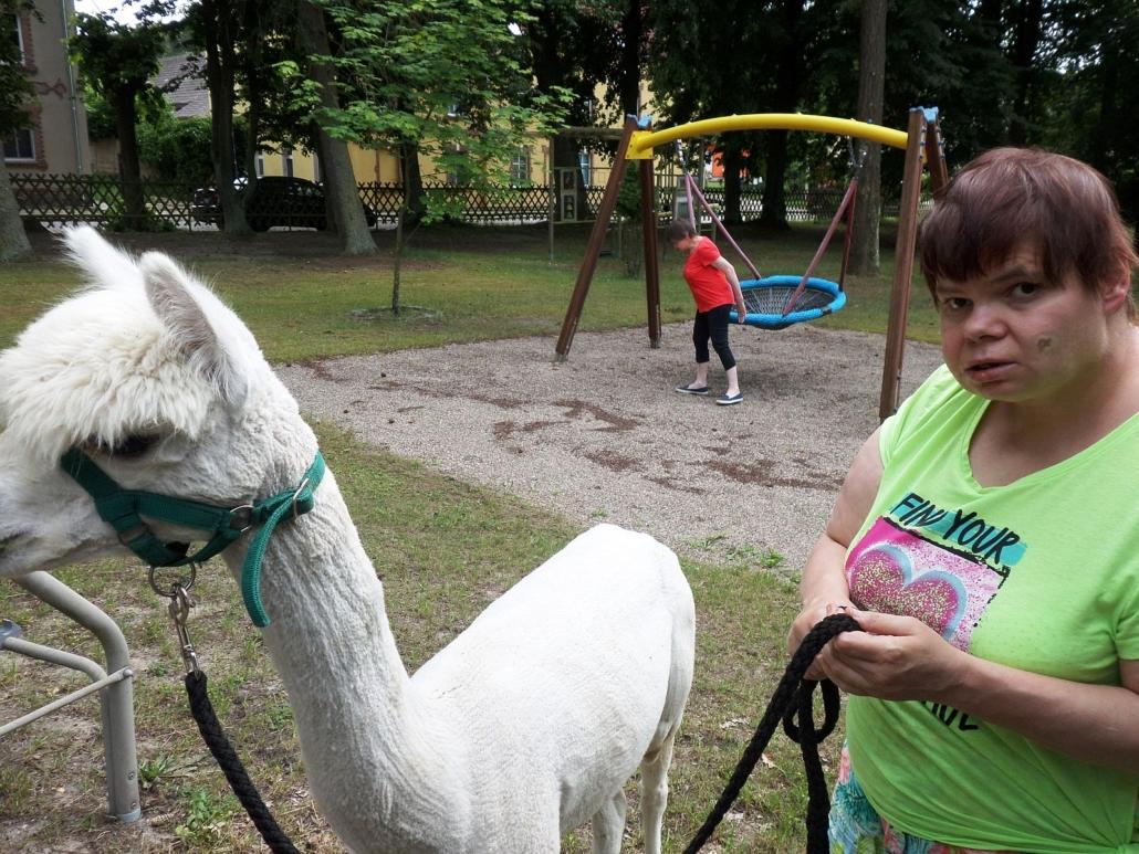 Eine junge Frau mit grünem T-Shirt hält das weiße Alpaka an der Leine. Beide blicken gespannt zu Kamera. Im Hintergrund setzt sich eine Frau auf die Nestschaukel.
