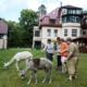Drei Bewohner stehen mit ihrer Betreuerin auf der Wiese. An der Leine halten sie die beiden Alpakas, die sich vor allem für das Gras interessieren. Im Hintergrund ist die Wohnstätte Daheim zu sehen.