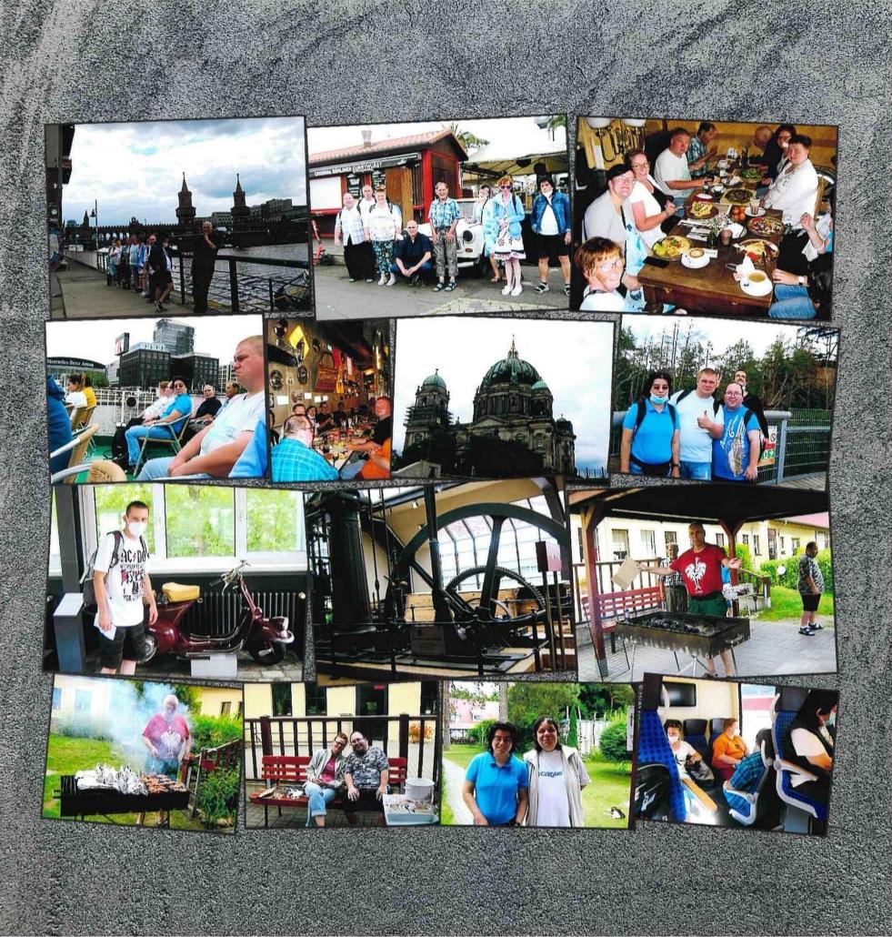 Eine Collage aus insgesamt 14 Fotos, die sich teilweise überlappen. Unter anderem mit Bildern vom Berlinbesuch, von der Schifffahrt, vom Technikmuseum und vom Grillen.